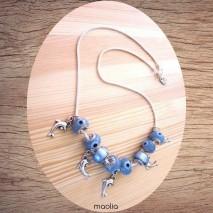 Collier perles bleues et argent