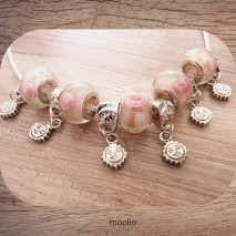 Maolia - Collier perles pastel vert et rose argent