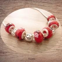 Collier perles rouges et noires argent