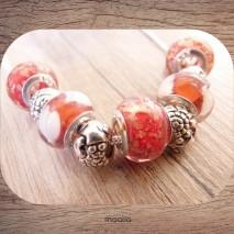 Collier perles rouges et blanches argent