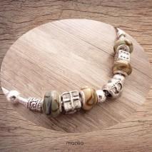 Maolia - Collier perles vertes et beige argent