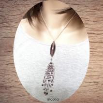 Maolia - Sautoir perles de verre mauves chaine argent