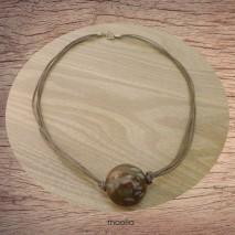 Maolia - Collier perle de bois cordon marron