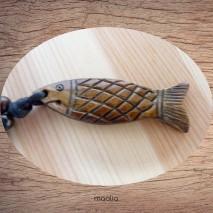 Maolia - Collier pendentif os de buffle poisson