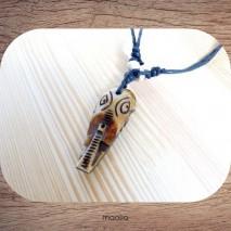 Maolia - Collier pendentif os de buffle tête d'éléphant