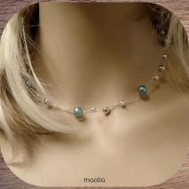 Collier perles bleues et argent 3 fils