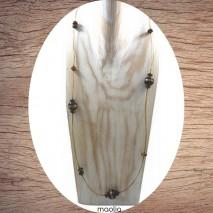Maolia - Sautoir perles indiennes et fil cablé doré