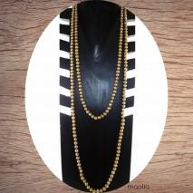 Sautoir perles de culture champagne doré