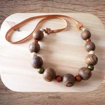 Maolia - Sautoir bois d'olivier brutes et ruban