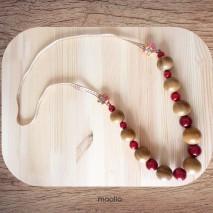 Maolia - Sautoir bois d'olivier poli et ruban