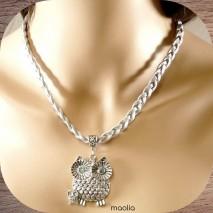 Maolia - Collier tresse cuir grise chouette argent
