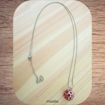 Maolia - Sautoir grosse perle rouge et argent
