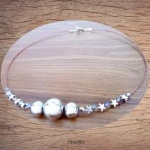 Maolia - Collier trois fils et perles argent et cristal