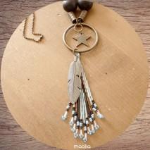 Maolia - Collier long grosses perles et pendentif bleu