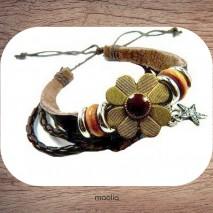 Bracelet cuir tresse et grosse fleur bronze