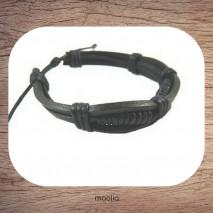 Maolia - Bracelet cuir bande et tresse