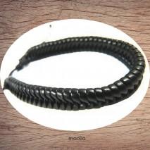 Maolia - Bracelet cuir tresse fantaisie noire