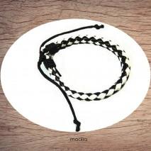 Maolia - Bracelet cuir tressé noir et blanc