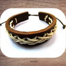 Bracelet cuir marron lacet blanc