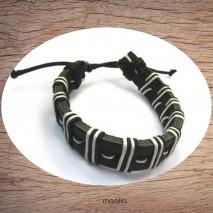 Maolia - Bracelet cuir lien noirs et blancs