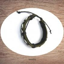 Maolia - Bracelet cuir petite entrelacement noir et blanc