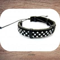 Bracelet cuir petit damier noir et blanc