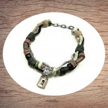 Maolia - Bracelet cuir et cordon avec cadenas