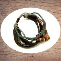 Maolia - Bracelet cuir et cordon avec pierre naturelle claire