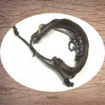 Bracelet cuir et cordon et perles métal