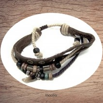 Bracelet en cuir et cordon avec dent deux couleurs