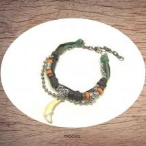 Maolia - Bracelet en cuir et cordon avec dent en corne