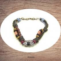 Maolia - Bracelet en cuir et cordon avec feuille