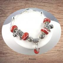 Bracelet Pandamaolia chaîne argent et perles rouges