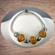 Bracelet Pandamaolia argent avec perles jaune doré