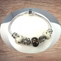 Bracelet Pandamaolia argent avec perles noires et blanches