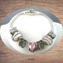 Bracelet Pandamaolia argent avec perles roses et blanches