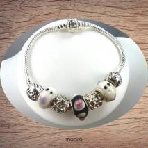Bracelet Pandamaolia chaîne argent perles roses pailletées