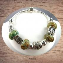 Bracelet Pandamaolia argent avec perles ton vert brun