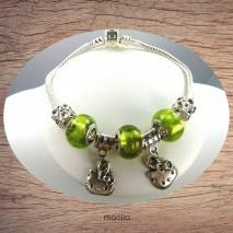 Bracelet Pandamaolia chaîne argent perles vertes