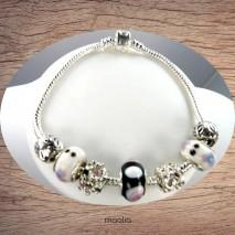 Bracelet Pandamaolia argent perles noires blanches roses