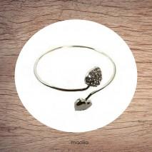 Bracelet anneau aux deux coeurs