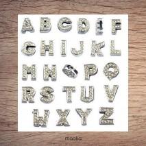 Lettres strass argent pour bracelet cuir