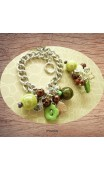 Bracelet perles vertes marron sur grosse chaine