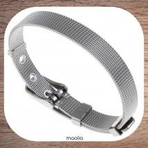 Maolia - Bracelet maille acier argentée