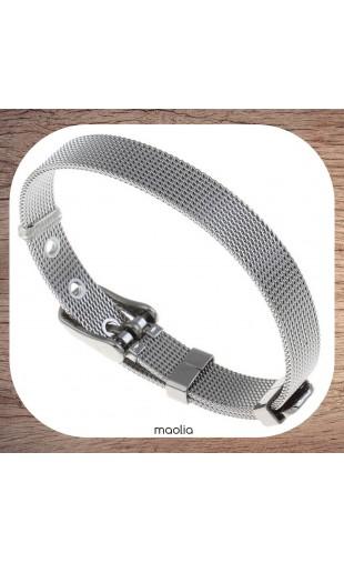 Bracelet maille acier argentée