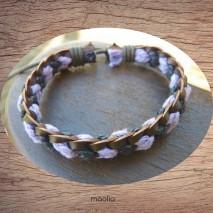 Maolia - Bracelet cuir et coton noir et mauve