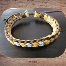 Maolia - Bracelet cuir et coton jaune et bleu