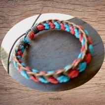 Bracelet cuir et coton bleu et rouge
