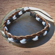 Maolia - Bracelet cuir et coton blanc et noir