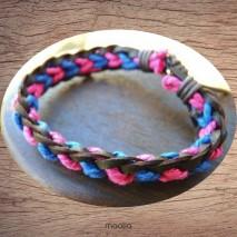 Bracelet cuir et coton rose et bleu